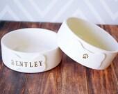 Personalized Dog Bowl, Custom Dog Bowl, Dog Gift, Puppy Gift -  Small/Medium Size - Ceramic