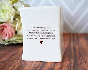 Grandmother Christmas Gift, Grandma Christmas Gift - SHIPS FAST - Square Vase