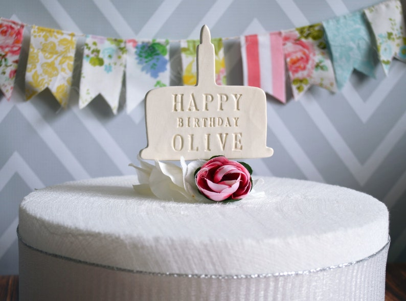 Personalized Name Birthday Cake Topper In White Silver