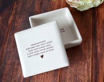 Grandma Wedding Gift - Grandmother Wedding Gift  - SHIPS FAST - Grandmothers have ears that truly listen  ... Square Keepsake Box