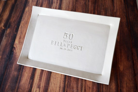 50th Anniversary Gift - Large Rectangular Platter or Guest Book Alternative - Gift boxed