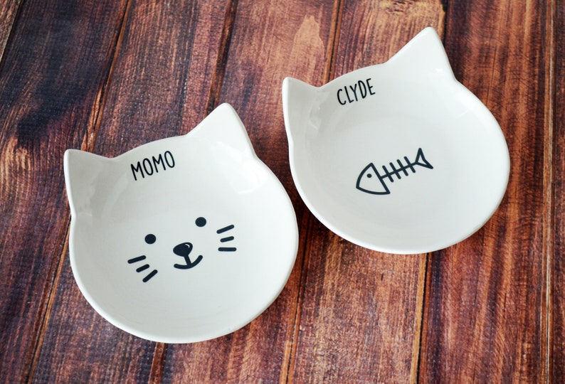 Personalized Cat Bowl Custom Cat Dish Cat Gift Kitten Bowl image 0