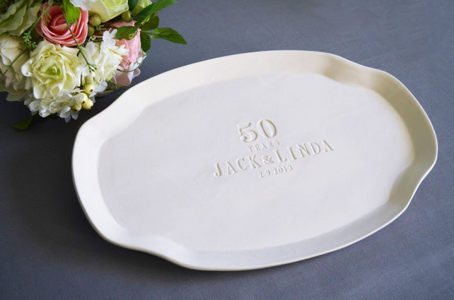 50th Anniversary Present or Signature Guestbook Platter - Personalized with Names and Date - Gift boxed