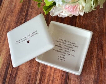 Unique Mother of the Groom Gift - Thank You For Raising the Man of My Dreams - Personalized Square Keepsake Box