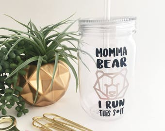 Momma bear cup, geometric mama bear tumbler, mason jar tumbler, new mom gift, cute gifts for moms, mom gifts