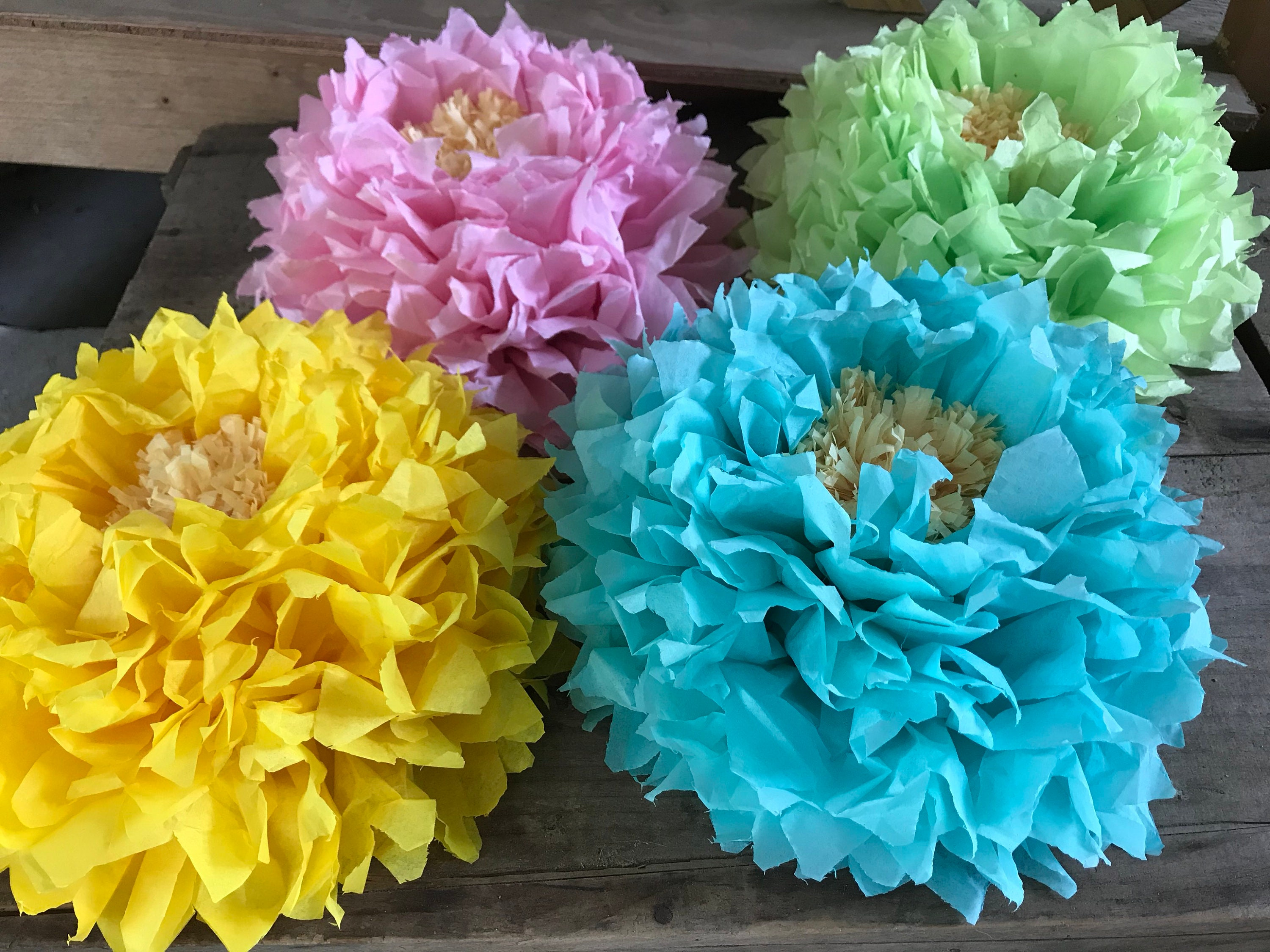 Tissue Paper Flowers 4 Paper Flowers Birthday Party Baby Etsy