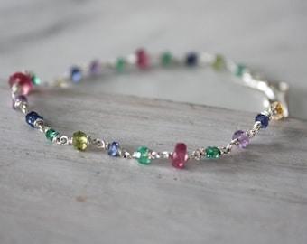 Multi Gemstone Silver Bracelet - Simple Beaded Bracelet - Gemstone Bracelet - Everyday Jewelry