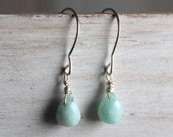 Amazonite Bead Silver Teardrop Earrings - Mint Green Minimal Earrings- Sterling Silver Gemstone Jewelry -Made In Canada