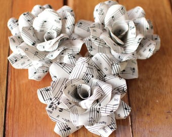12 Pcs Music Sheet  Paper Roses for Weddings and Craft Projects