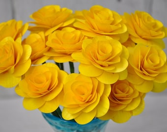 Canary yellow flower etsy canary yellow wooden roses two dozens with wire stem 2 inches diameter mightylinksfo