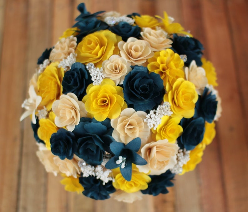 Wooden Flowers Bouquet Navy Blue And Yellow Wooden Bouquet Etsy