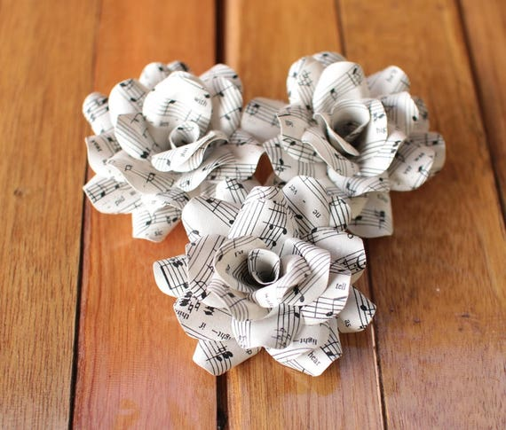 12 Pcs Music Sheet Paper Roses For Weddings And Craft Etsy