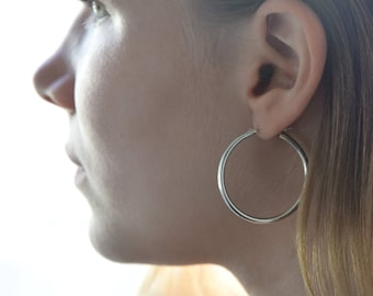 Silver hoop earrings, Hoops, Earlobe hoops, Silver earrings, Everyday earrings, Minimalist earrings silver, Sterling silver earrings