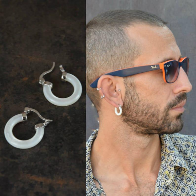 Mens hoop earrings Earrings for men Single white hoop image 1