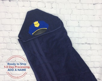 Hooded Towel Children/'s Towel Embroidered Towel Police Pup Christmas Present for Boys K9 Officer Hooded Beach Towel Puppy Dog