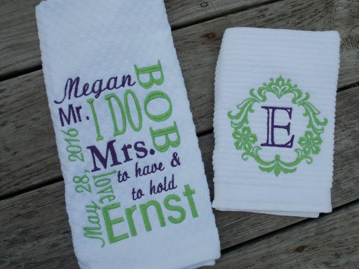 Personalized Kitchen Towel Set Wedding Gift Set Bridal Shower