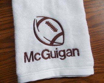 Football Personalized Hand Towel Sports Bathroom Decor Monogrammed Hand Towel Personalized Towel Team Towel Sports Towel Football Towel