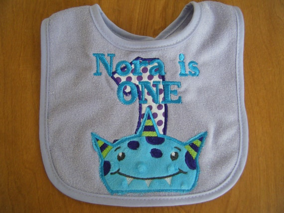 Personalized Monster Bib Birthday Party 1st