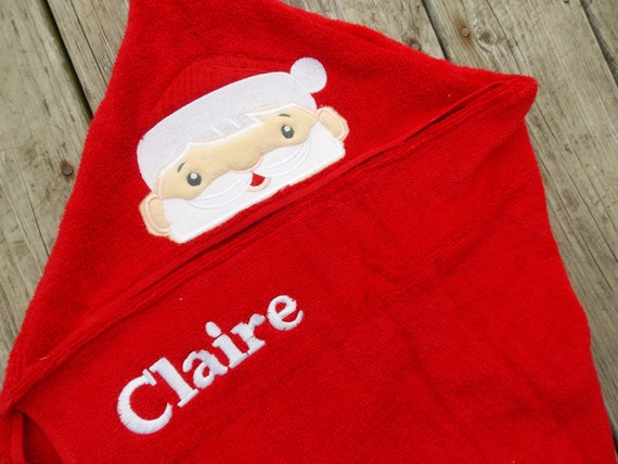 Father Christmas Santa hooded bath towel infants kids