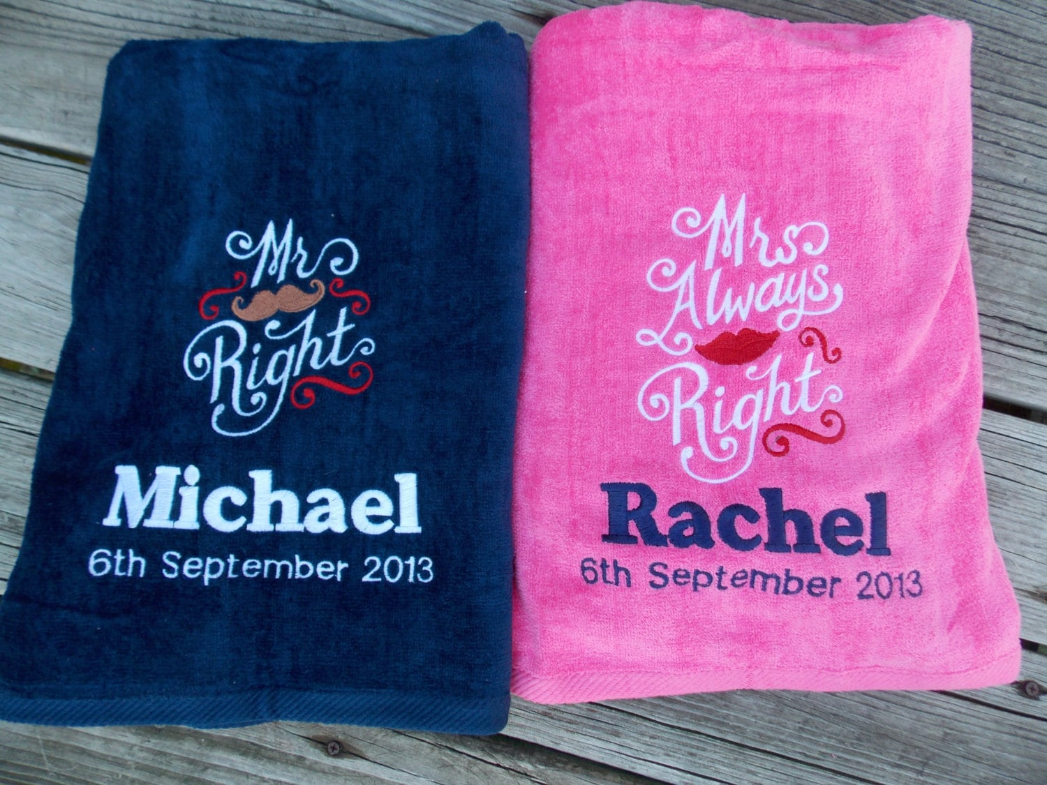 LG Set of 2 Mr. and Mrs. Right Beach Towels Bridal Shower