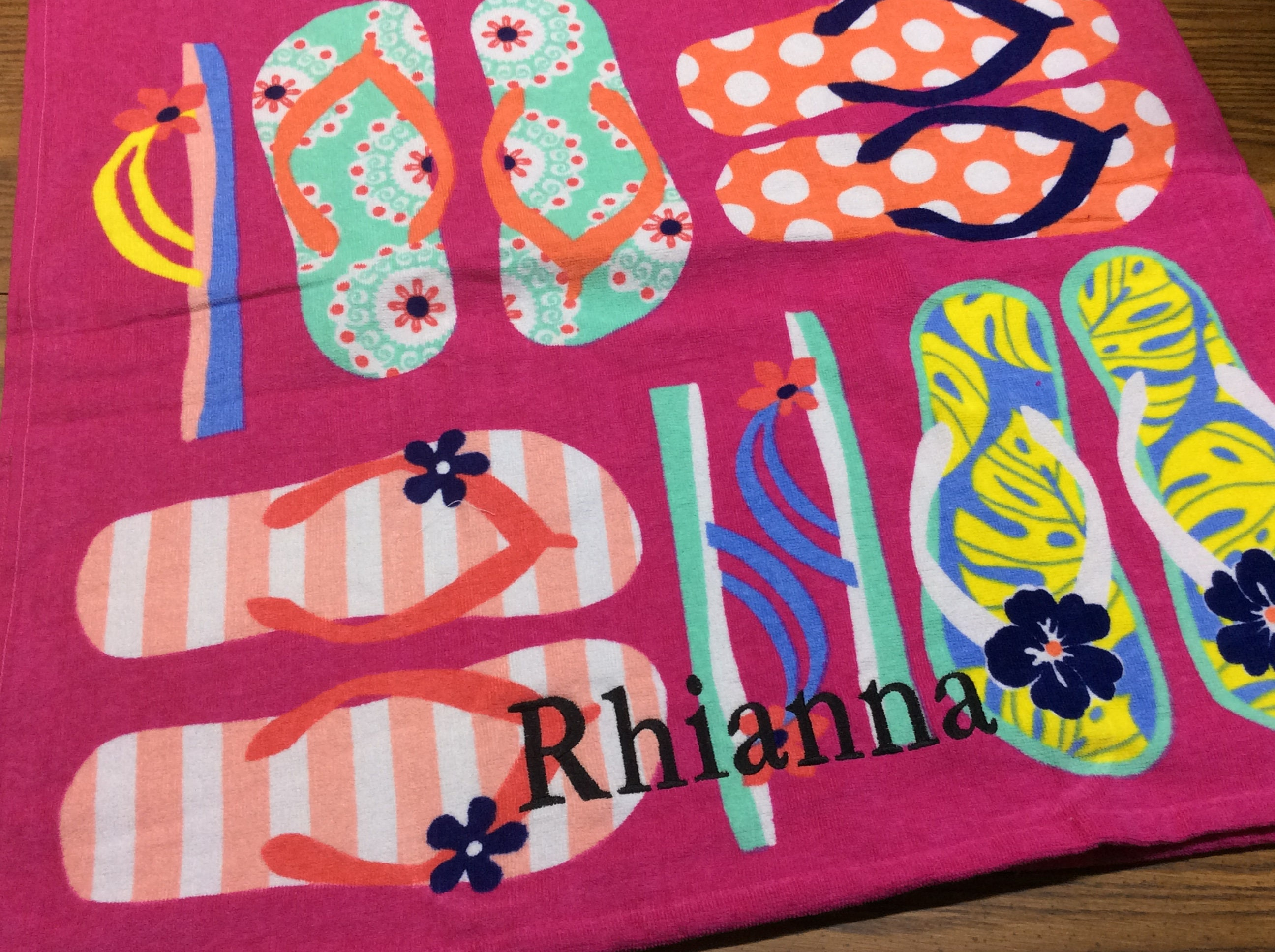 Flipflops Personalized Beach Towel Gift for Girl Monogrammed   Etsy