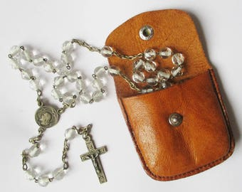 Antique french rosary and its pocket wallet, 1940s 1950s, Glass pearls, Chapelet ancien, Mother of pearls, Antique, Religion, Catholic