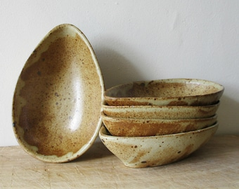 5 vintage avocado bowls, Handmade, Bowl, Dish, Grès, 1960s, Ramequin avocat, Pottery, Poterie, France, Rustic