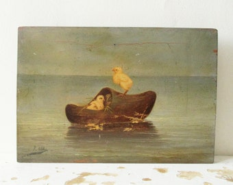 Vintage antique LITTLE french Oil Painting on panel, 1930s, Signed by the artist, France, Nature morte