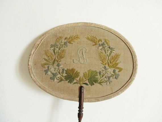 Antique french embroidered fan 1800s Embroidery Fa