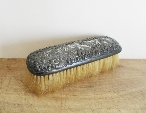 Vintage Carved Tiger Shoe Brush--Vintage Shoe Brush Holder--ARP Badge