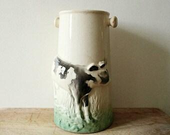 French vintage majolica pot, 1930s, Cow, Barbotine, Ceramic milk pot, Rustic, Farmhouse, Kitchen, Antique home decor, Pot lait Vache