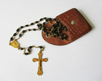 Antique french rosary and its pocket wallet, 1950s Vintage Black glass pearls, Chapelet ancien verre noir, Mother of pearl