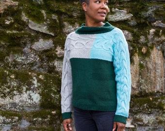 "PATTERN 'Modcast' Knit Colorblock Seamless Sweater  size 33""-48"" bust dk"