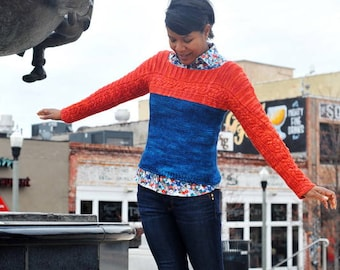 """PATTERN 'Across Town' Knit Colorblock Seamless Sweater  size 33""""-48"""" bust worsted"""