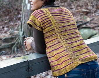 """PATTERN 'Twin Vines' Knit Striped Seamless Sweater  size 30""""-45"""" bust worsted"""