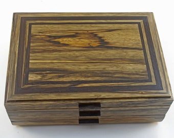 Wooden Jewelry Box With One Drawer - Black Limba With Wenge Accents  (JB5375 )