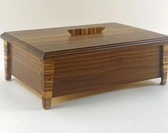 Handmade Exotic Wood Jewelry Box -- Black Walnut With Zebrawood Accents (SJB5434  )