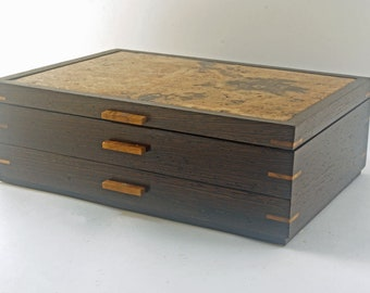Wooden Jewelry Box With One Drawer - Canarywood With Padauk Accents  (JB5428 )