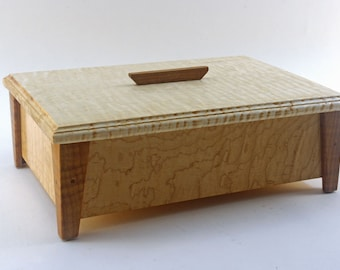 Handmade Exotic Wood Jewelry Box -- Curly Maple With Roasted Maple Accents (SJB5444   )