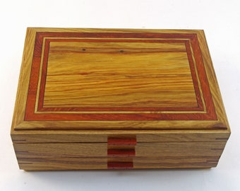 Wooden Jewelry Box With One Drawer - Canarywood With Padauk Accents  (JB5369 )