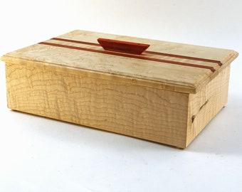 Handmade Exotic Wood Keepsake Box --  Curly Maple, Birds Eye Maple With Padauk Accents    (KSB5348 )