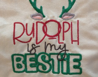 Machine-embroidered towels, Christmas, Holiday, whimsical