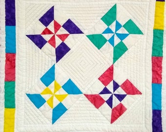 Summer Pinwheels, quilt pattern small, mini, colorful