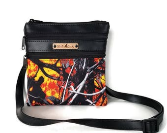 Moonshine Wildfire Camo Crossbody Bag -  Small Cross Body bag - Crossbody Purse - Wildfire Bag - Camo purse - Orange Camo
