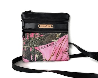 True Timber MC2 Pink Crossbody Bag -  Small Cross Body bag - Crossbody Purse - Pink Camouflage purse - Camo purse