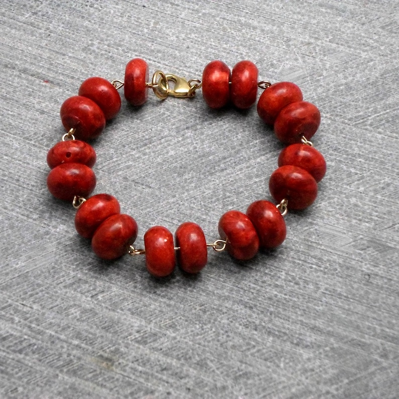 Rustic Vintage  Inspired Valentines Romantic Red Bracelet Coral Beads Threaded on Gold Filled Wire