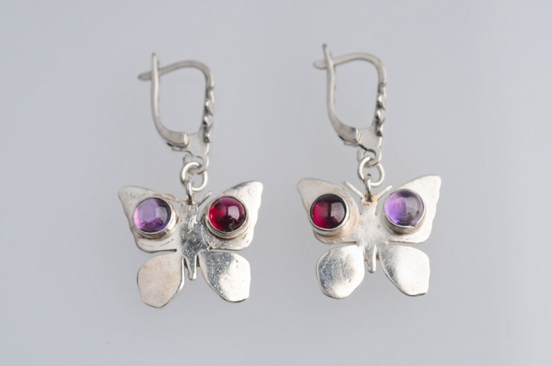 Short Dangle Women Free Gift Valentine Free Shipping Teens Adorned with Red Garnet and Purple Amethyst Butterfly Silver Earrings