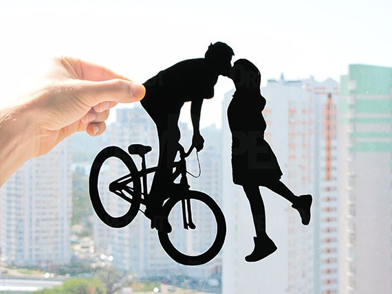 Bicycle Kissing Couple Gift Ideas For First Year Wedding Etsy