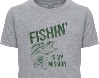Ready to Ship Fishin' is my Mission, Funny Fishing Shirt, Gift for Teen Boy, Fisherman Present Father's Day Gift  Fly Fishing, Dad Son Tees
