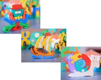 RESERVED Colorful Wooden Puzzles. 12 puzzles of your choice. Eco toys - Ready to Ship